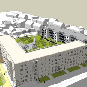 Perspektive Bestandsbau in den Innenhof Bauteil C