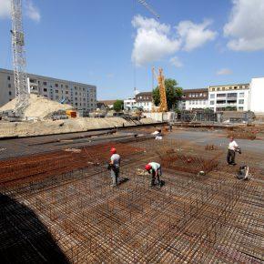 WU Betonsohle Gebäude A im Albert Schweitzer Quartier fast fertig